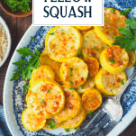 Overhead image of crispy roasted yellow squash with text title overlay