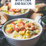 Side shot of a bowl of creamy shrimp soup with text title overlay