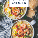 Overhead image of two bowls of shrimp soup with text title overlay