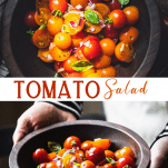 Long collage image of tomato salad