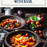 Two bowls of tomato salad balsamic with text title box at top
