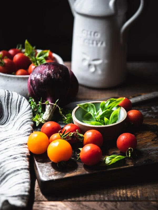 Ingredients for tomato salad recipe