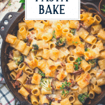 Overhead pasta bake with text title overlay