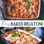 Long collage image of easy baked rigatoni with sausage
