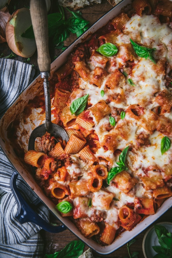 Close overhead shot of the best baked rigatoni recipe