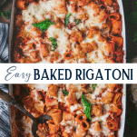 Collage image of the best baked rigatoni recipe