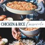 Long collage image of chicken and rice casserole with cream of mushroom soup