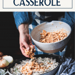 Process shot making chicken and rice casserole with cream of mushroom soup and text title box at top