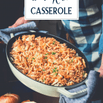 Hands holding chicken and rice casserole with cream of mushroom soup with text title overlay