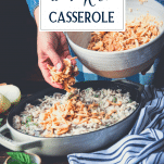 Making chicken and rice casserole with text title overlay