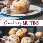 Long collage image of cranberry muffins