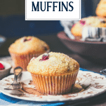 Close up side shot of a homemade cranberry muffin recipe on a plate with text title overlay