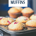 Close up side shot of cranberry muffins in a muffin tin with text title overlay