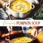 Long collage image of Creamy Pumpkin Soup