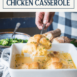 Hands serving chicken stuffed crescent rolls with text title box at top