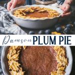 Long collage image of damson plum pie recipe