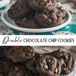 Long collage image of double chocolate chip cookies