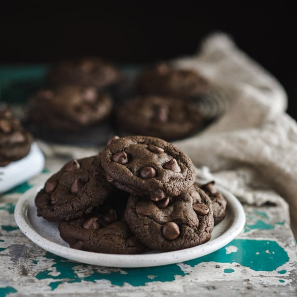 The best double chocolate chip cookies served on a white plate
