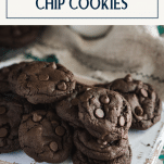 Close up side shot of double chocolate chip cookies on a white tray with text title box at top