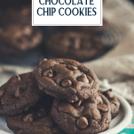 Close up side shot of a plate of double chocolate chip cookies with text title overlay