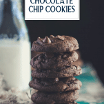 Stack of double chocolate chip cookies with text title overlay