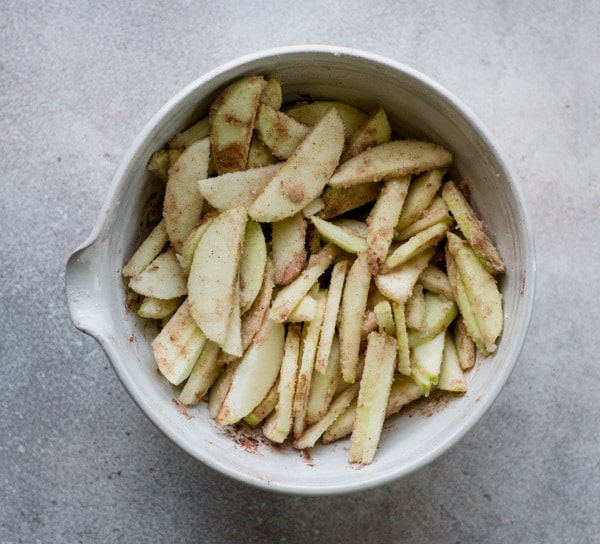 Apple pie filling in large mixing bowl