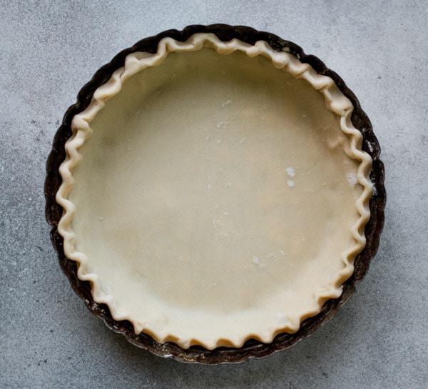 Pie crust in plate.