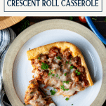 Plate of the best sausage crescent roll recipe with text title box at top
