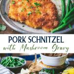 Long collage image of pork schnitzel with mushroom gravy