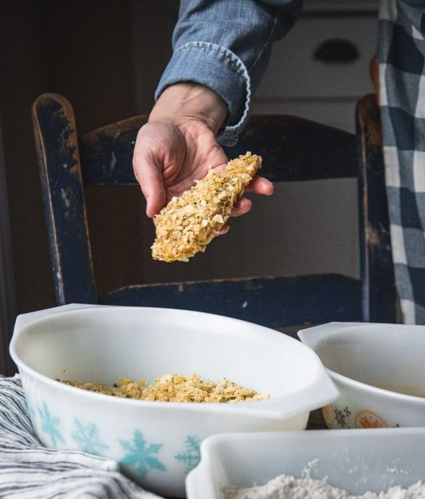 Using potato chips instead of breadcrumbs to coat chicken strips