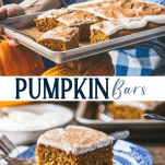 Long collage image of Pumpkin Bars with cream cheese frosting.