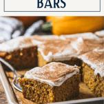 Sheet pan pumpkin bars with text title box at top.