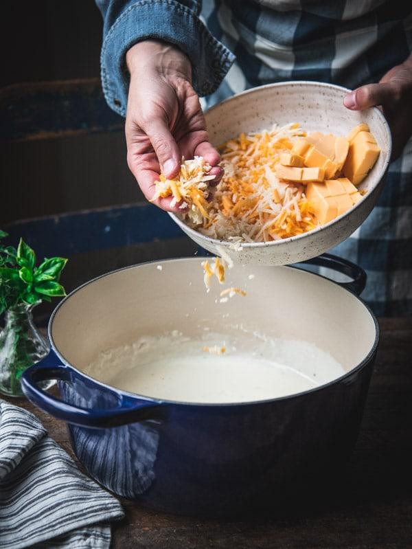 Process shot of making stovetop mac and cheese