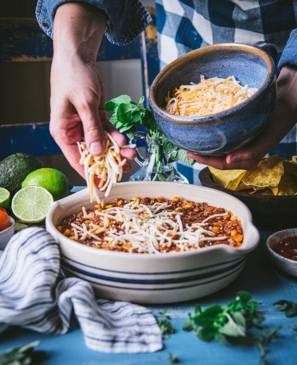 Process shot showing how to make taco bake casserole recipe