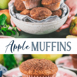 Long collage image of apple muffins