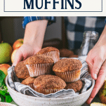 Bowl of easy apple muffins with text title box at top