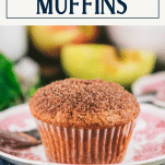 Easy apple muffin recipe on a plate with text title box at top