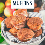 Close up shot of a bowl of apple muffins with text title overlay