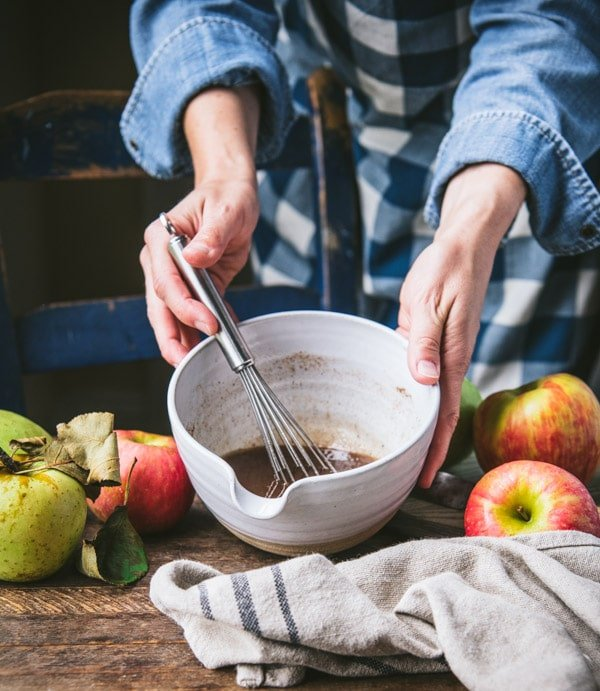 Whisking together brown sugar butter and cinnamon