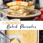 Long collage image of baked pancakes