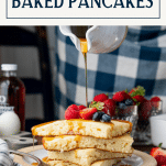 Pouring syrup on a stack of baked pancakes with text title box at top
