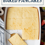 Overhead shot of a pan of baked pancakes with text title box at top