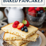 Stack of baked pancakes with text title box at top