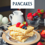 Stack of baked pancakes with text title overlay