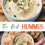 Long collage image of the best hummus recipe