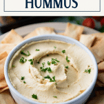 Close up shot of a bowl of easy hummus with text title box at top