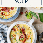 Overhead image of two bowls of easy cheeseburger soup with text title box at top
