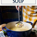 Ladling creamy cheeseburger soup with text title box at top