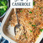 Close overhead shot of rotisserie chicken and stuffing casserole garnished with parsley and text title overlay