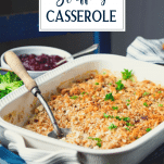 Close up side shot of a chicken and stuffing casserole with text title overlay